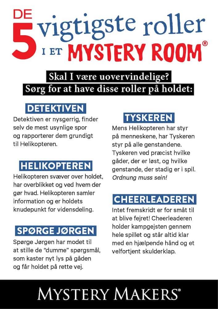 5 Roller i Mystery Room